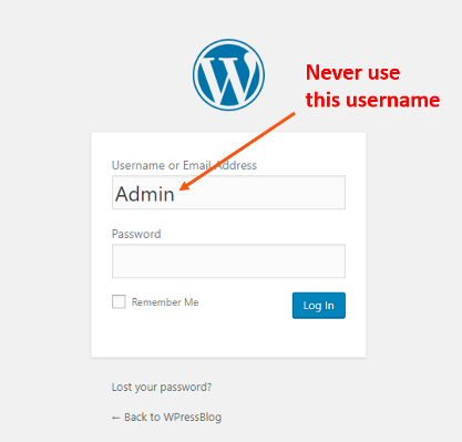 never use admin as username