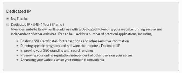 Dedicated IP Option