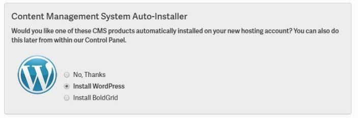 WordPress Auto Installation Option