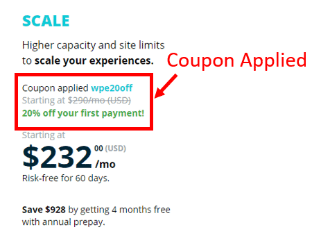 WP Engine Scale Plan Coupon Code