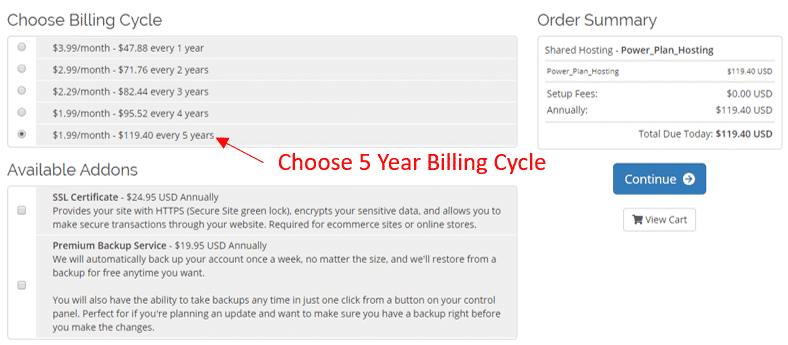 Choose 5 Year WebHostingPad Billing Cycle