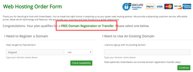 GreenGeeks Free Domain Registration