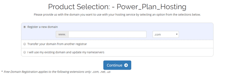 Select WebHostingPad Domain