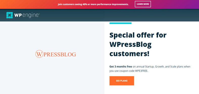WP Engine Enterprise Hosting Special Offer and Discount