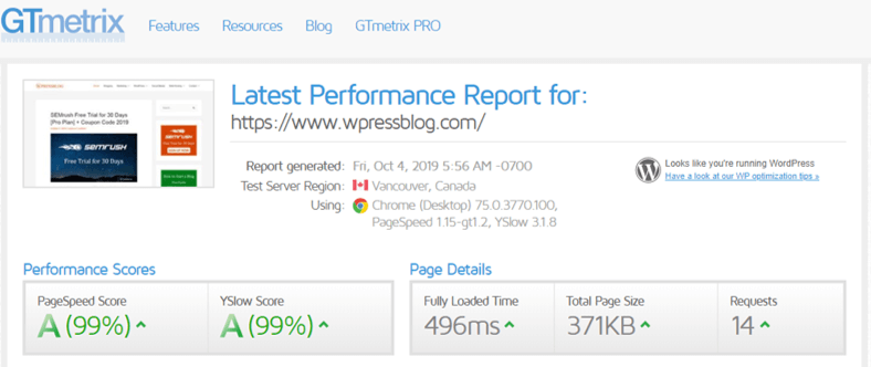 WPX Hosting Speed Test using GTMetrix