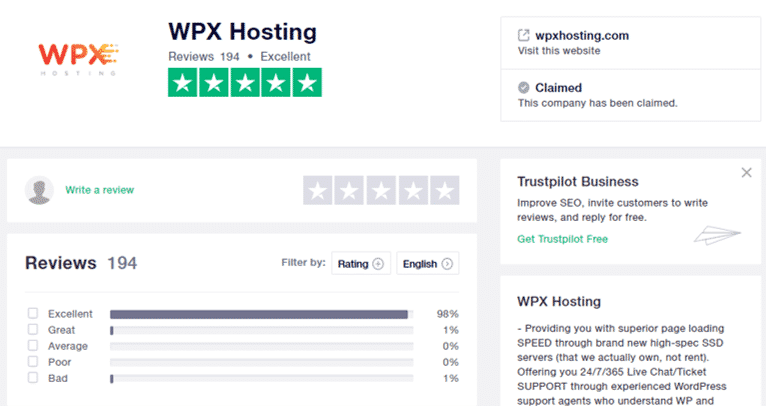 WPX Hosting Customer Reviews at Trustpilot