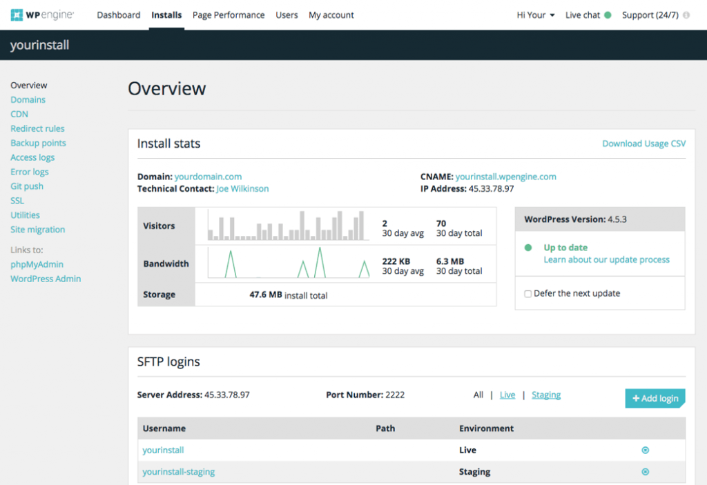 WP Engine Dashboard
