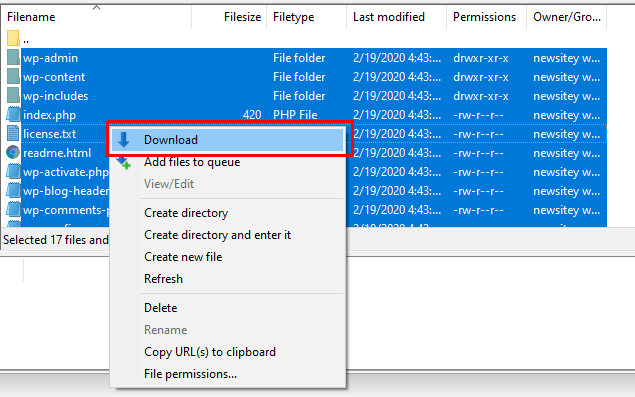 Download WordPress Files