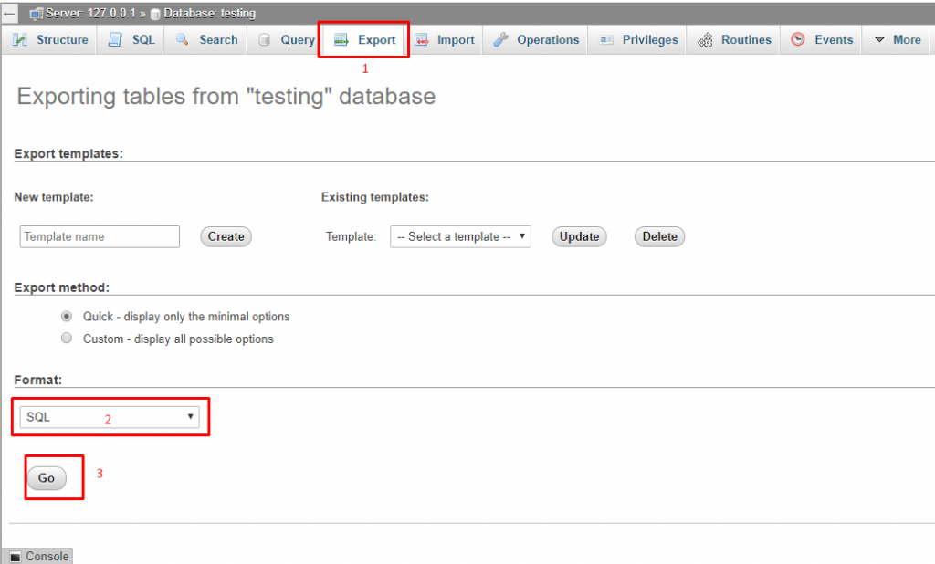 export the database file of your running WordPress site