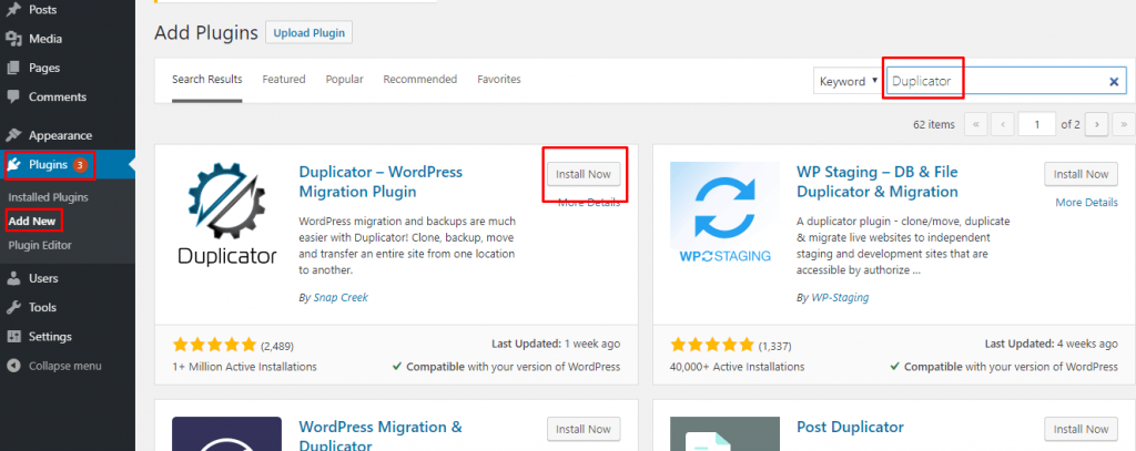 install a duplicator plugin on your existing site