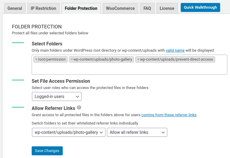 protect WordPress files and folders using plugin